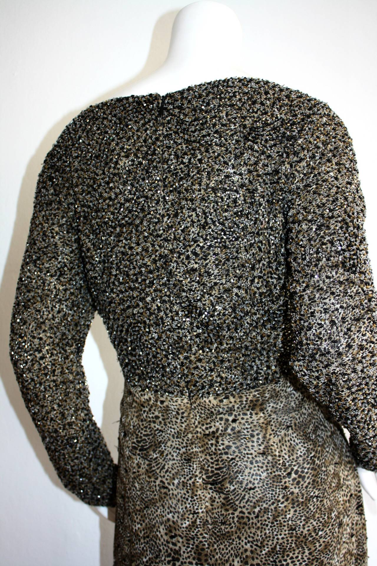 Stunning Vintage Bob Mackie Heavily Beaded Silk Chiffon Leopard Gown 8