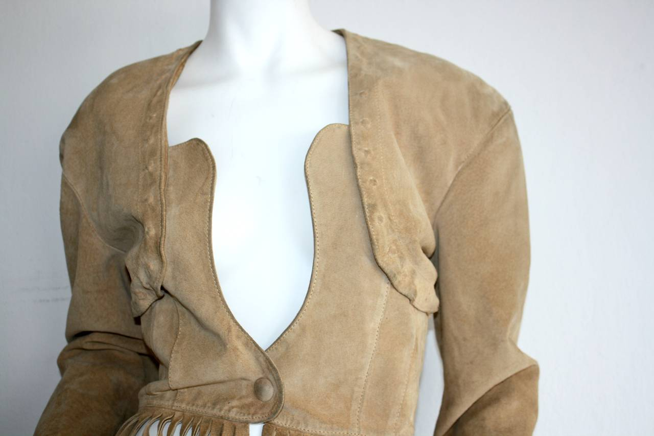 Vintage Jean Claude Jitrois Haute Couture Numbered Suede Tan Fringe Jacket 3