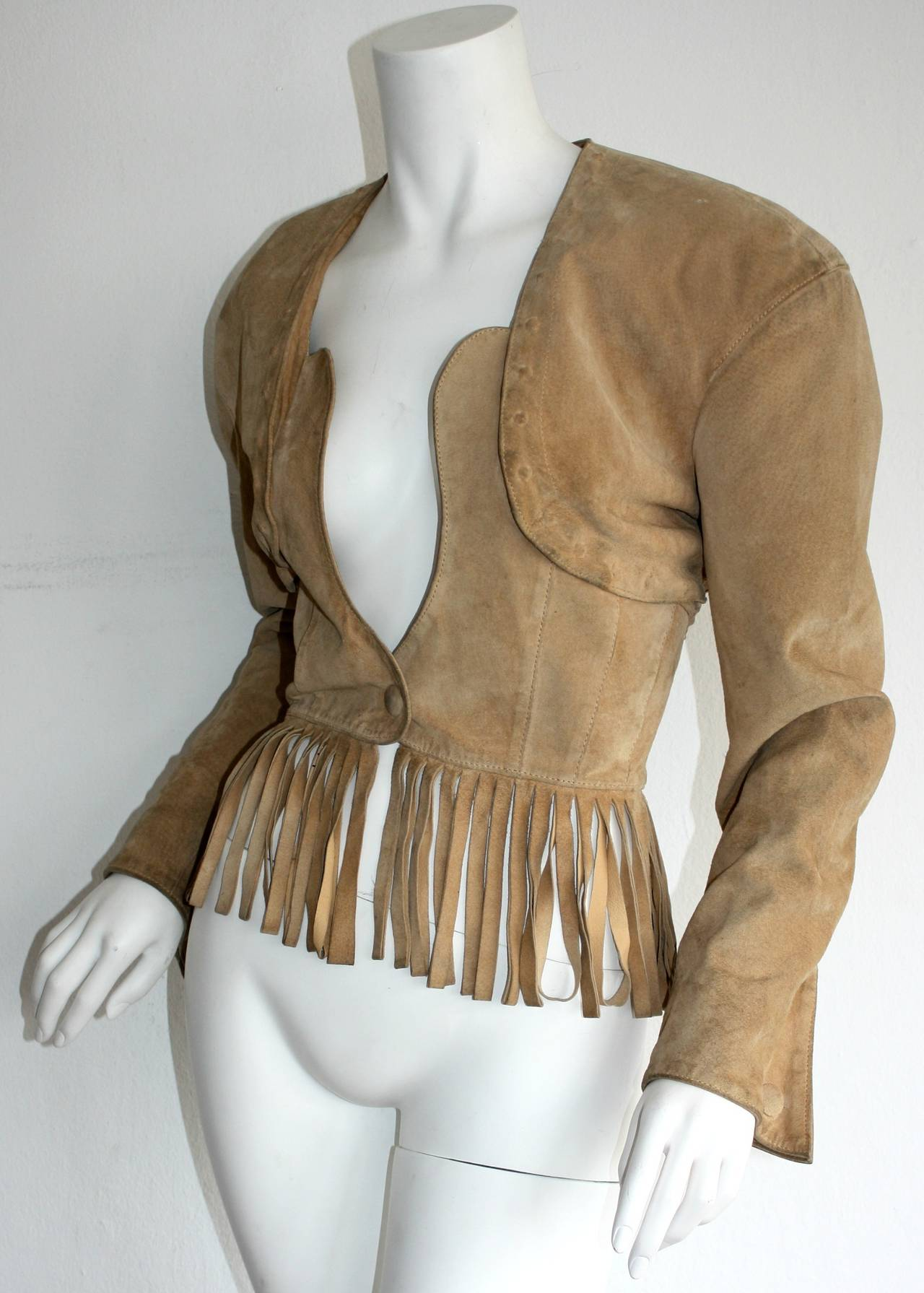 Vintage Jean Claude Jitrois Haute Couture Numbered Suede Tan Fringe Jacket 2