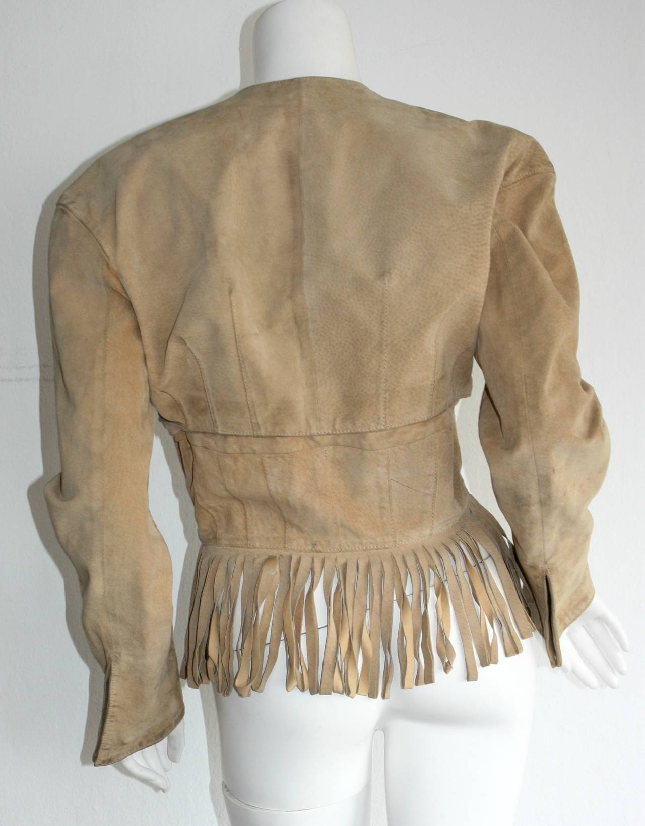 Vintage Jean Claude Jitrois Haute Couture Numbered Suede Tan Fringe Jacket 4