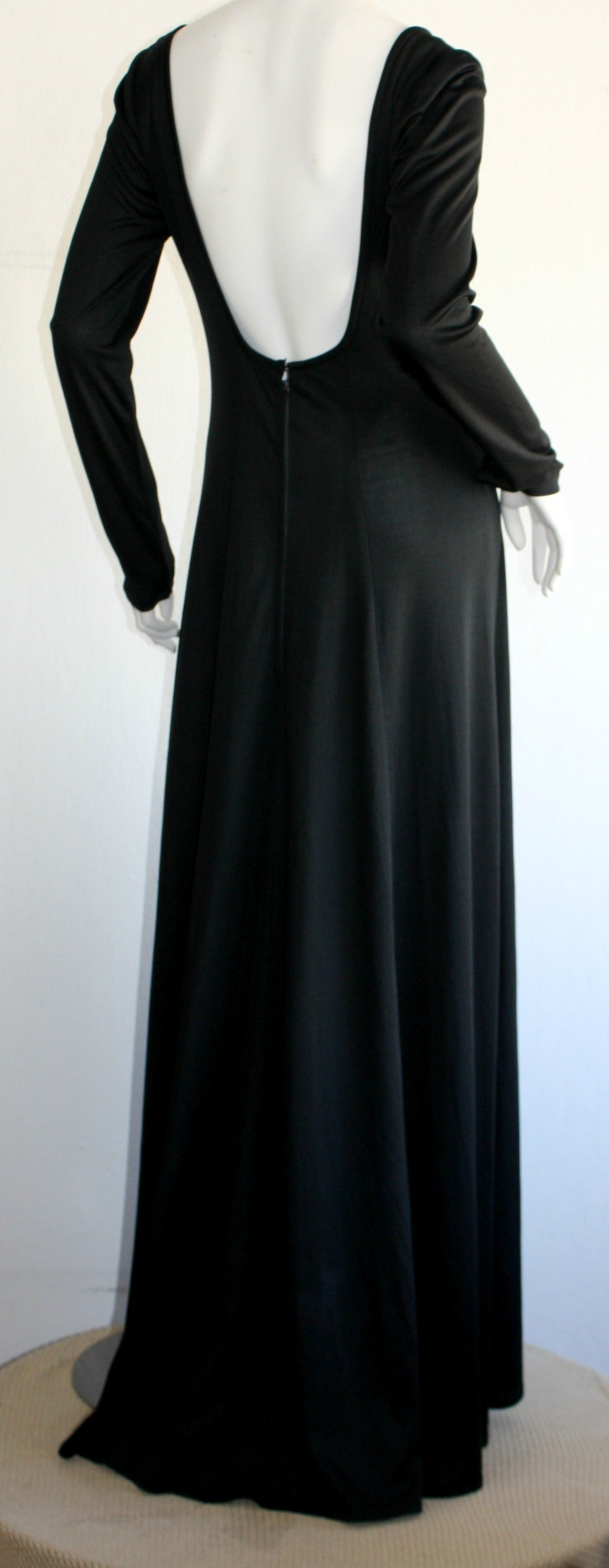 Jean Varon Sexy ' Plunging Back ' 1970s Black Jersey Gown 3