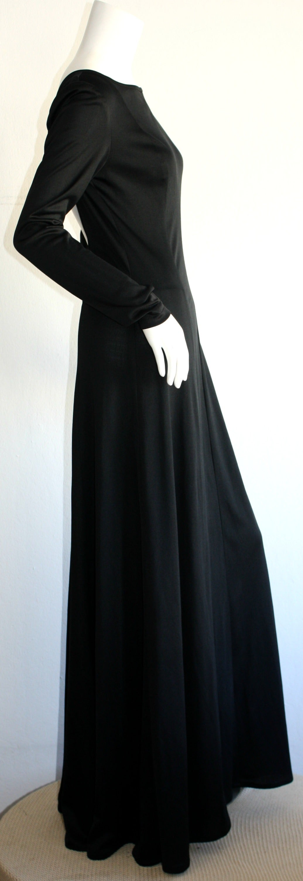 Jean Varon Sexy ' Plunging Back ' 1970s Black Jersey Gown 4