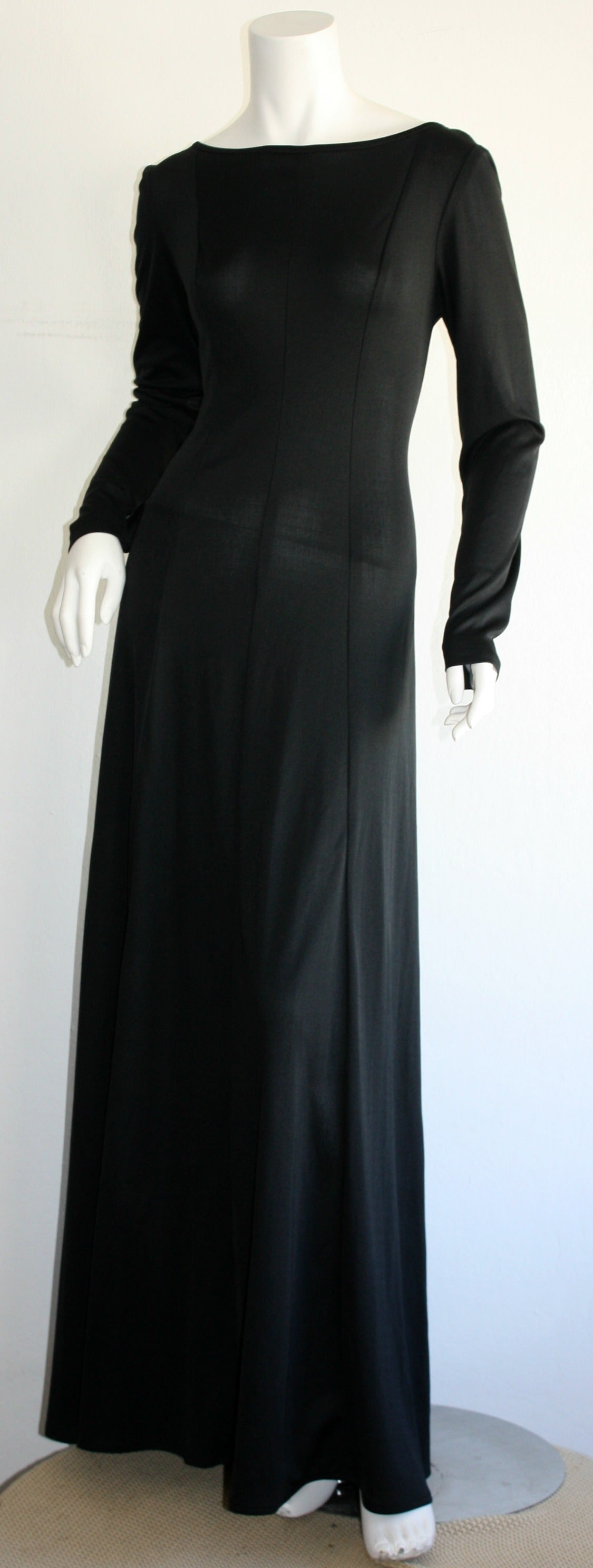 Jean Varon Sexy ' Plunging Back ' 1970s Black Jersey Gown 2