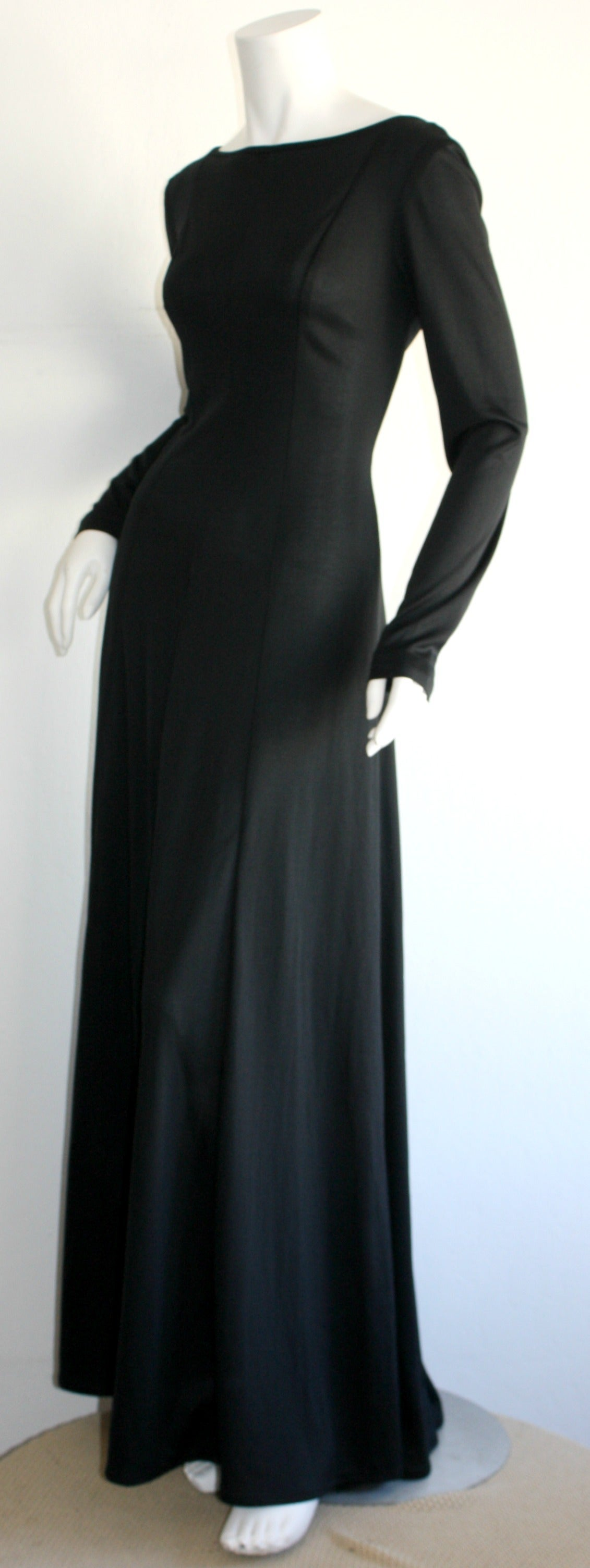 Jean Varon Sexy ' Plunging Back ' 1970s Black Jersey Gown 6