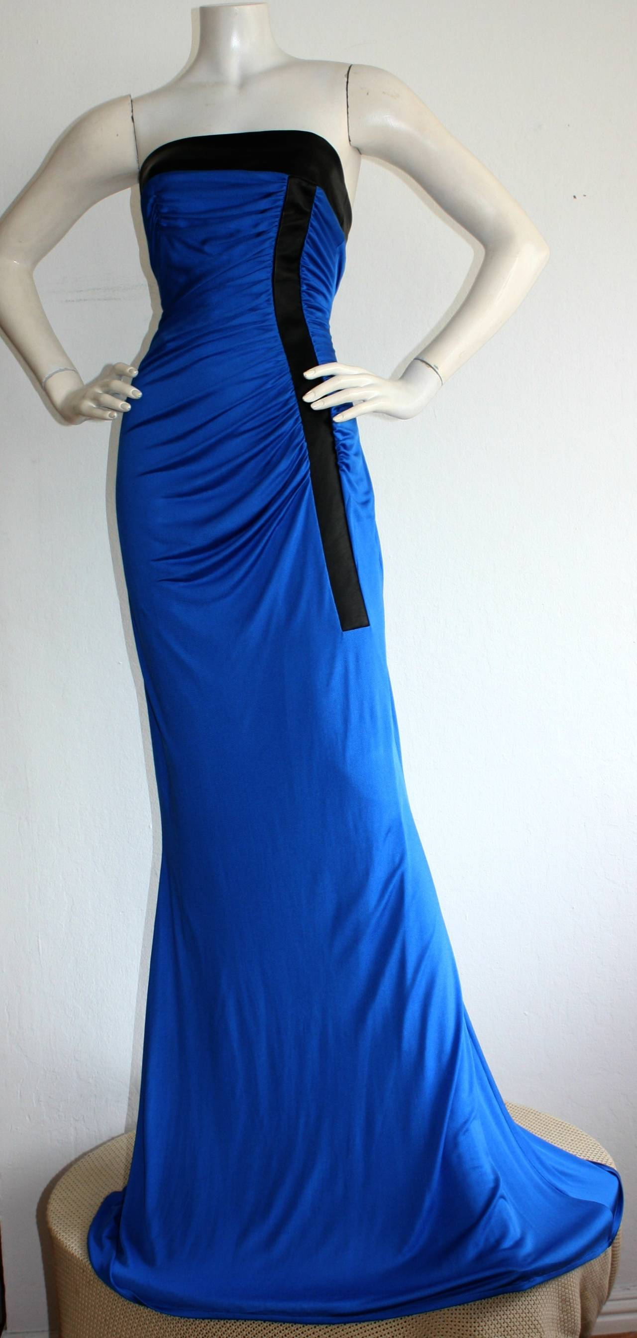 Ivana Trump's Lloyd Klein Couture Blue Silk Jersey & Black Leather Grecian Gown For Sale 1
