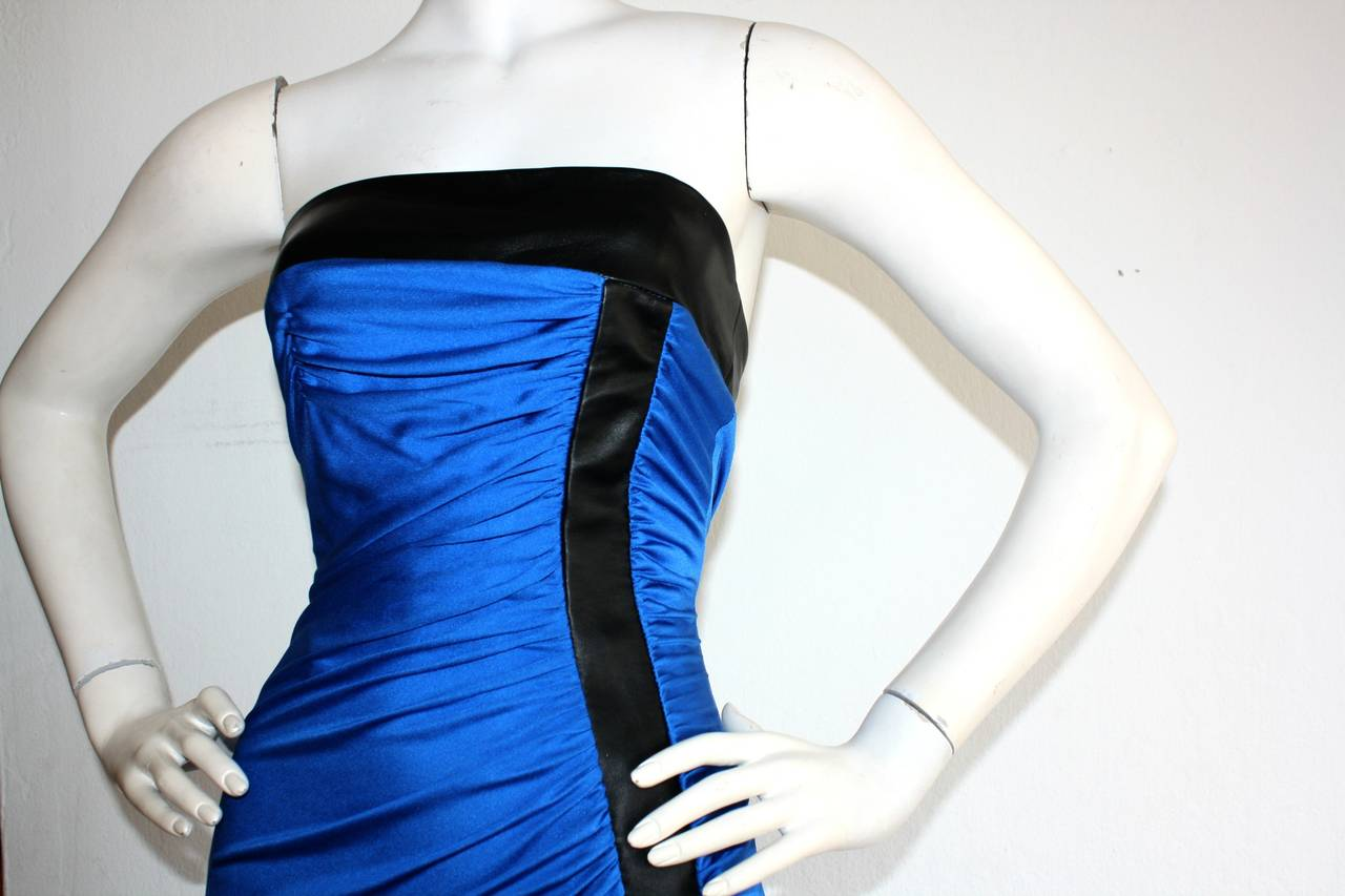 Ivana Trump's Lloyd Klein Couture Blue Silk Jersey & Black Leather Grecian Gown For Sale 3