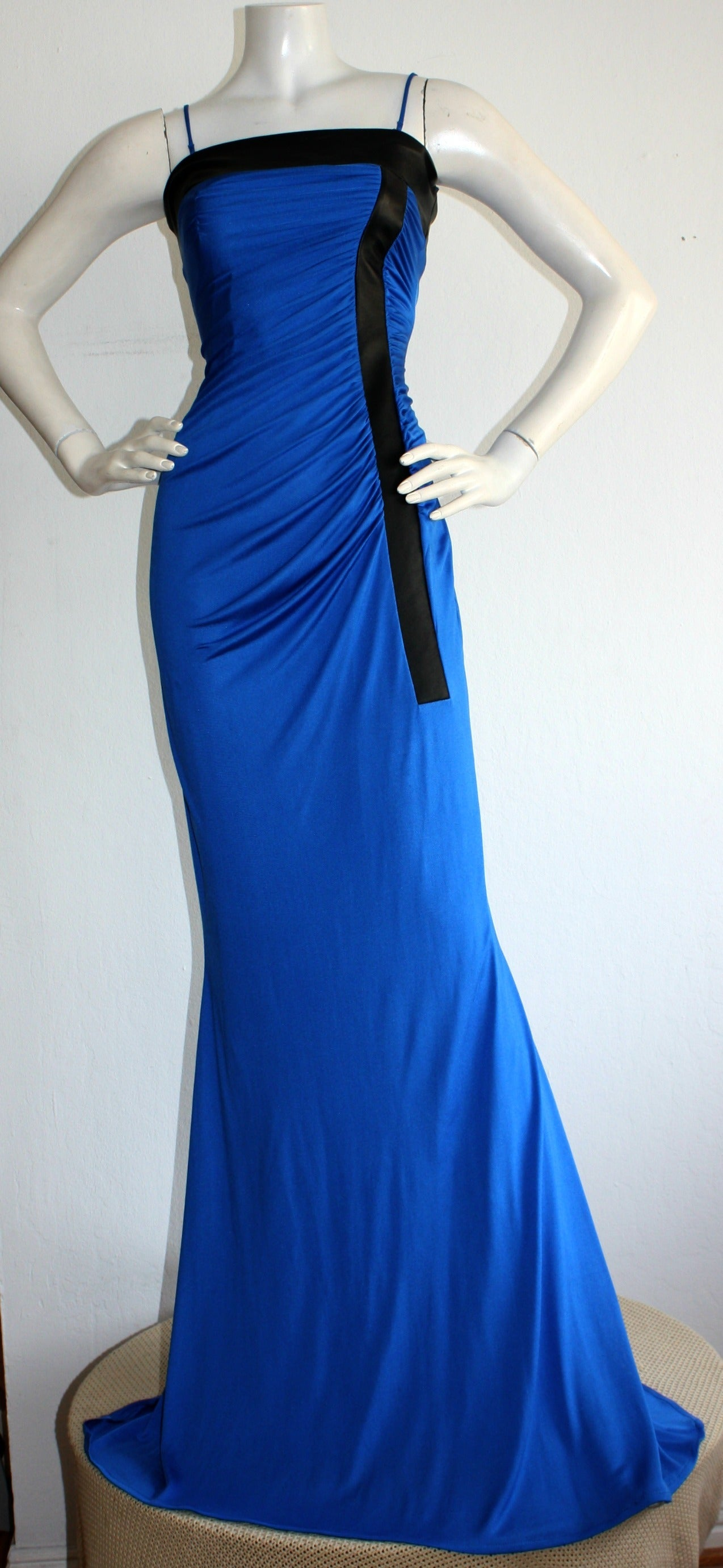 Ivana Trump's Lloyd Klein Couture Blue Silk Jersey & Black Leather Grecian Gown For Sale 2