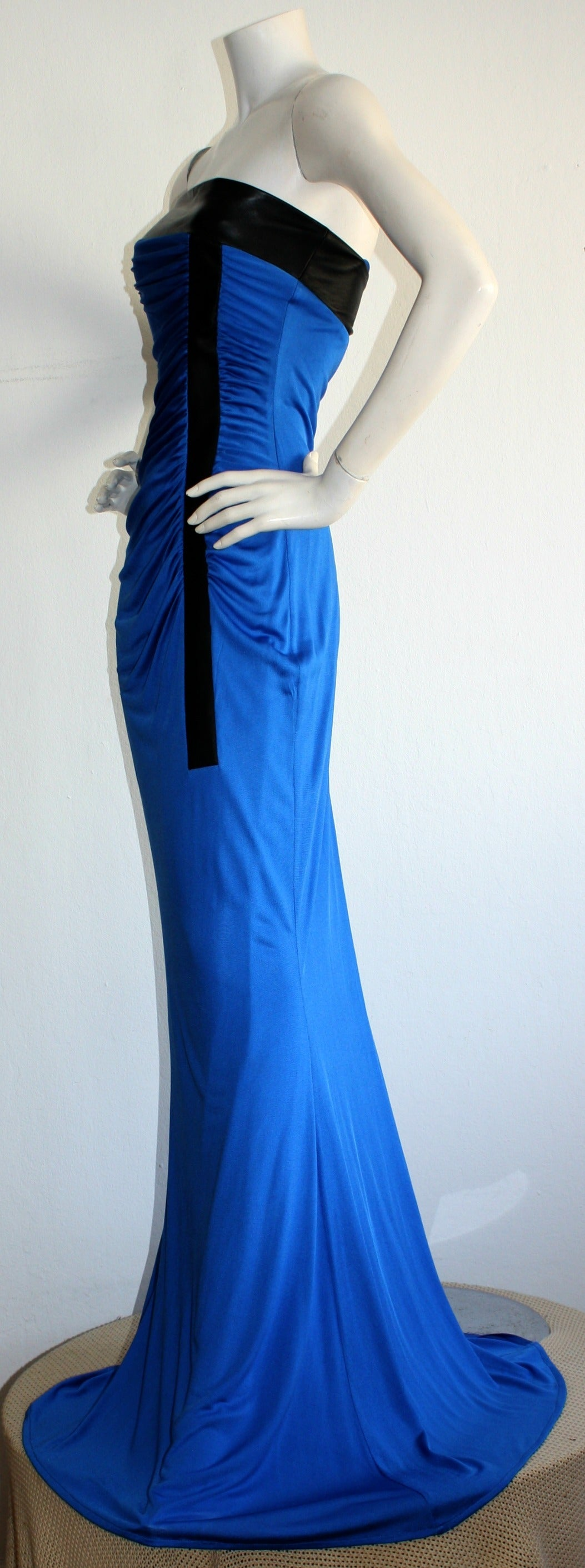 Women's Ivana Trump's Lloyd Klein Couture Blue Silk Jersey & Black Leather Grecian Gown For Sale