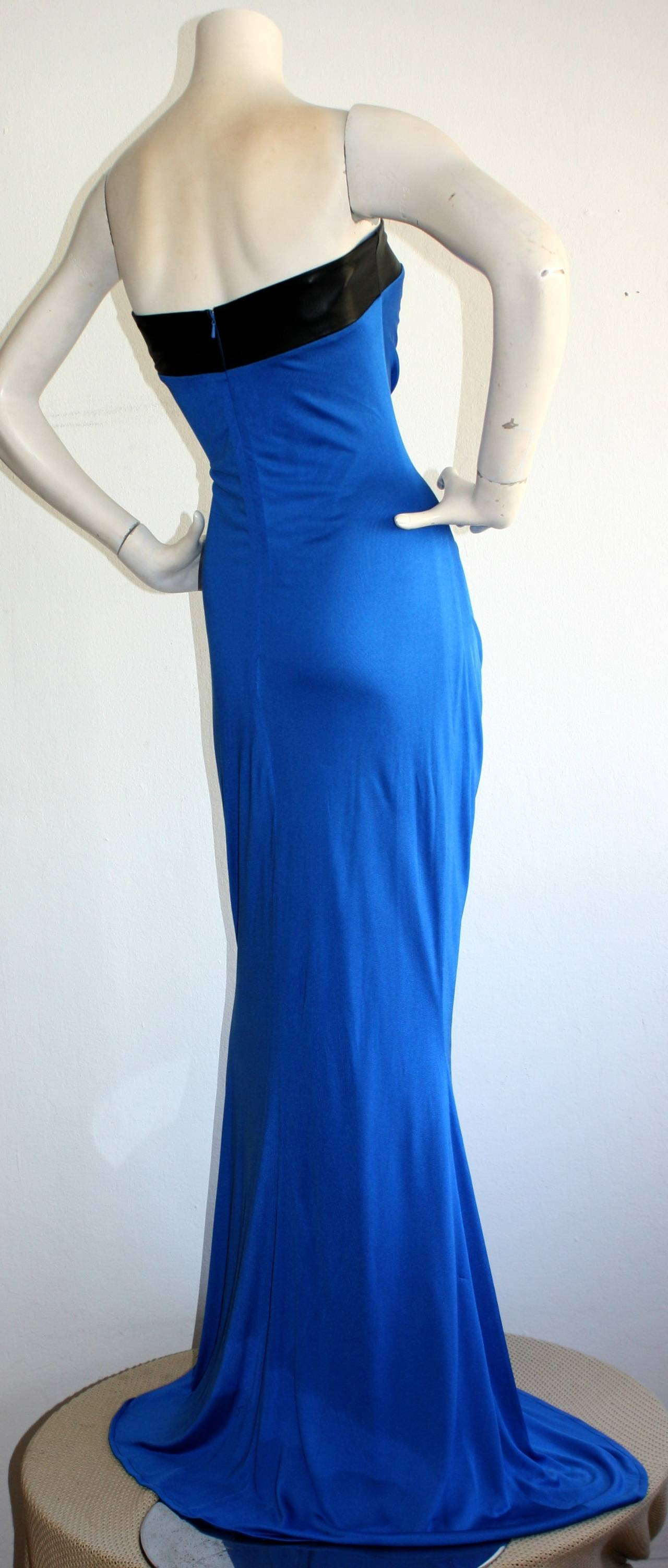 Ivana Trump's Lloyd Klein Couture Blue Silk Jersey & Black Leather Grecian Gown In Excellent Condition For Sale In San Francisco, CA