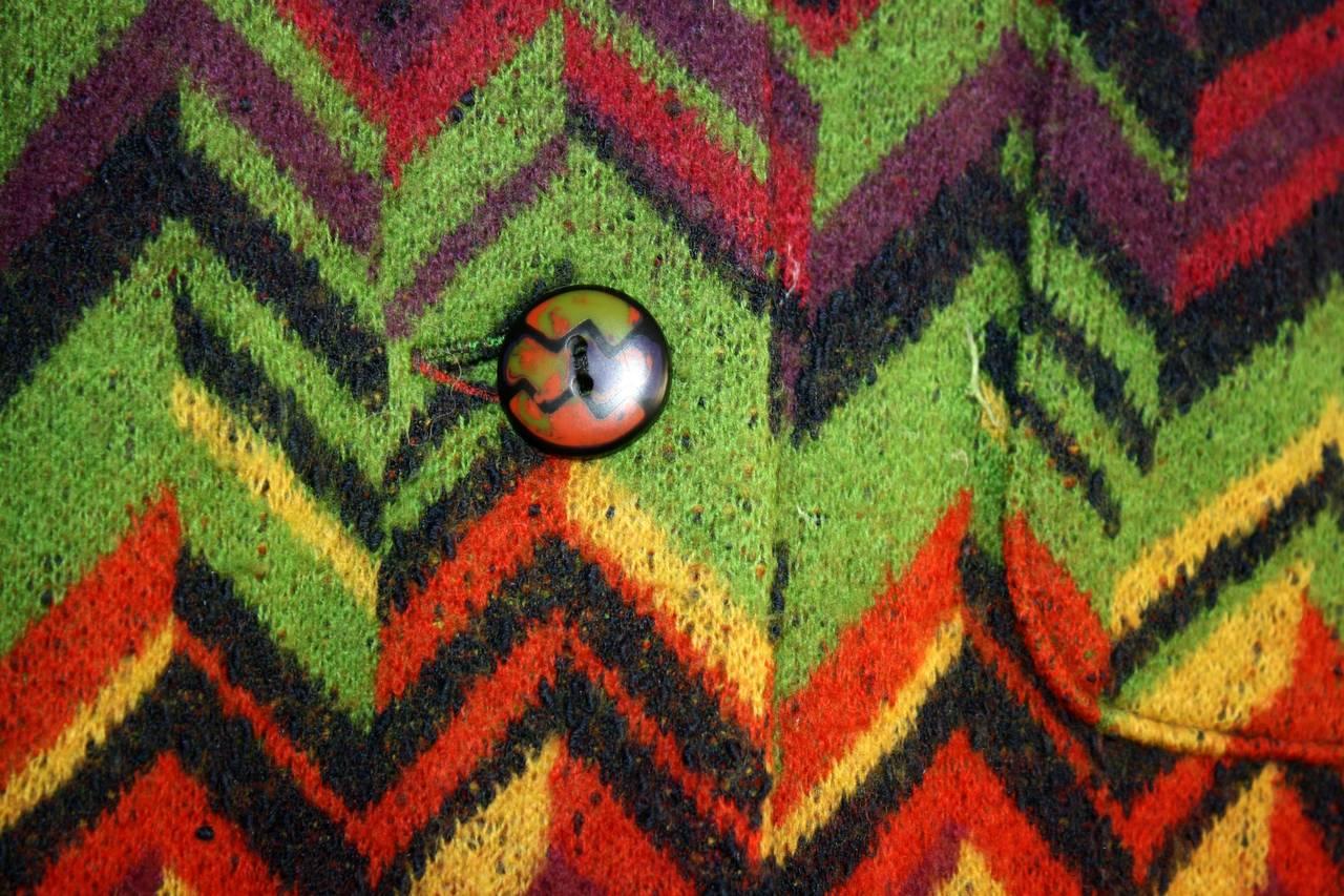 Amazing Vintage Missoni Signature Colorful Chevron Slouchy Blanket Jacket 3
