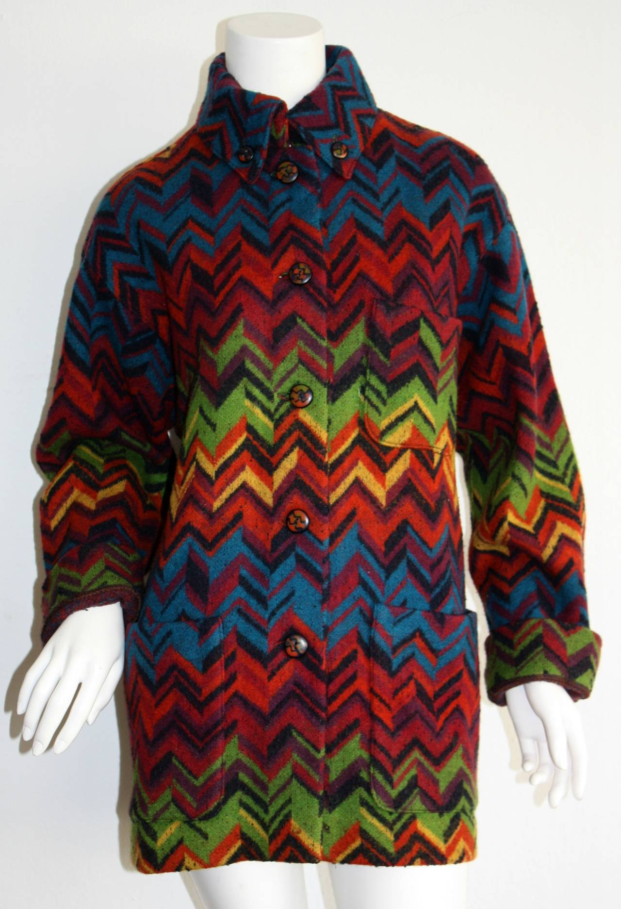 Now, this is a seriously CHIC vintage Missoni jacket!!! Signature colorful chevron stripes throughout, with wonderful matching colorful wood buttons up bodice, at collar, and cuffs! Wonderful, cozy, yet utterly chic slouchy fit! Can be worn a number