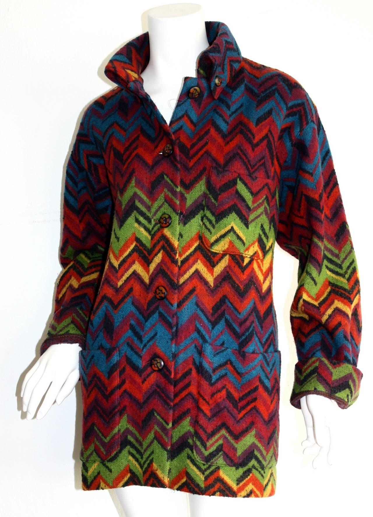 Black Amazing Vintage Missoni Signature Colorful Chevron Slouchy Blanket Jacket