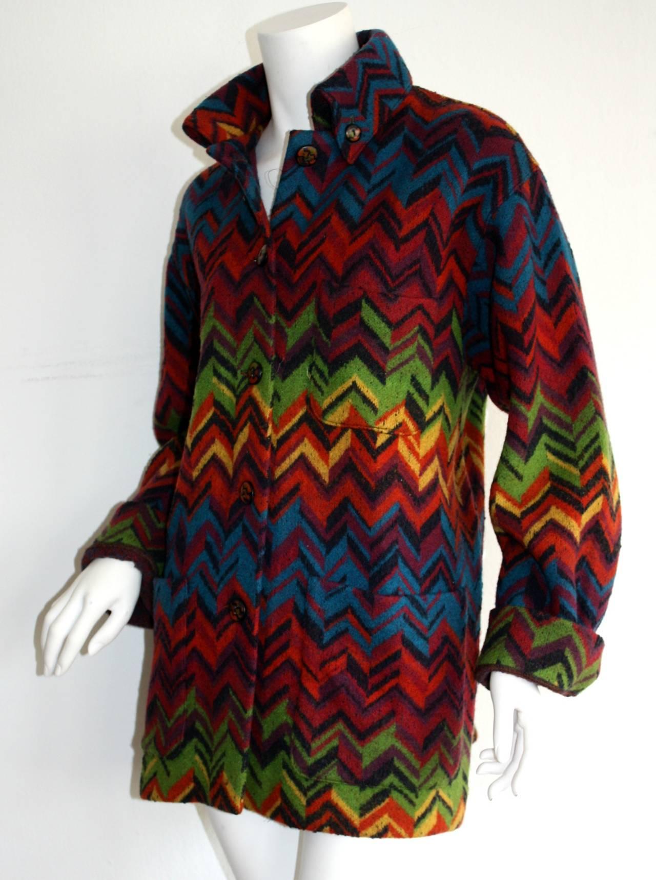 Women's Amazing Vintage Missoni Signature Colorful Chevron Slouchy Blanket Jacket