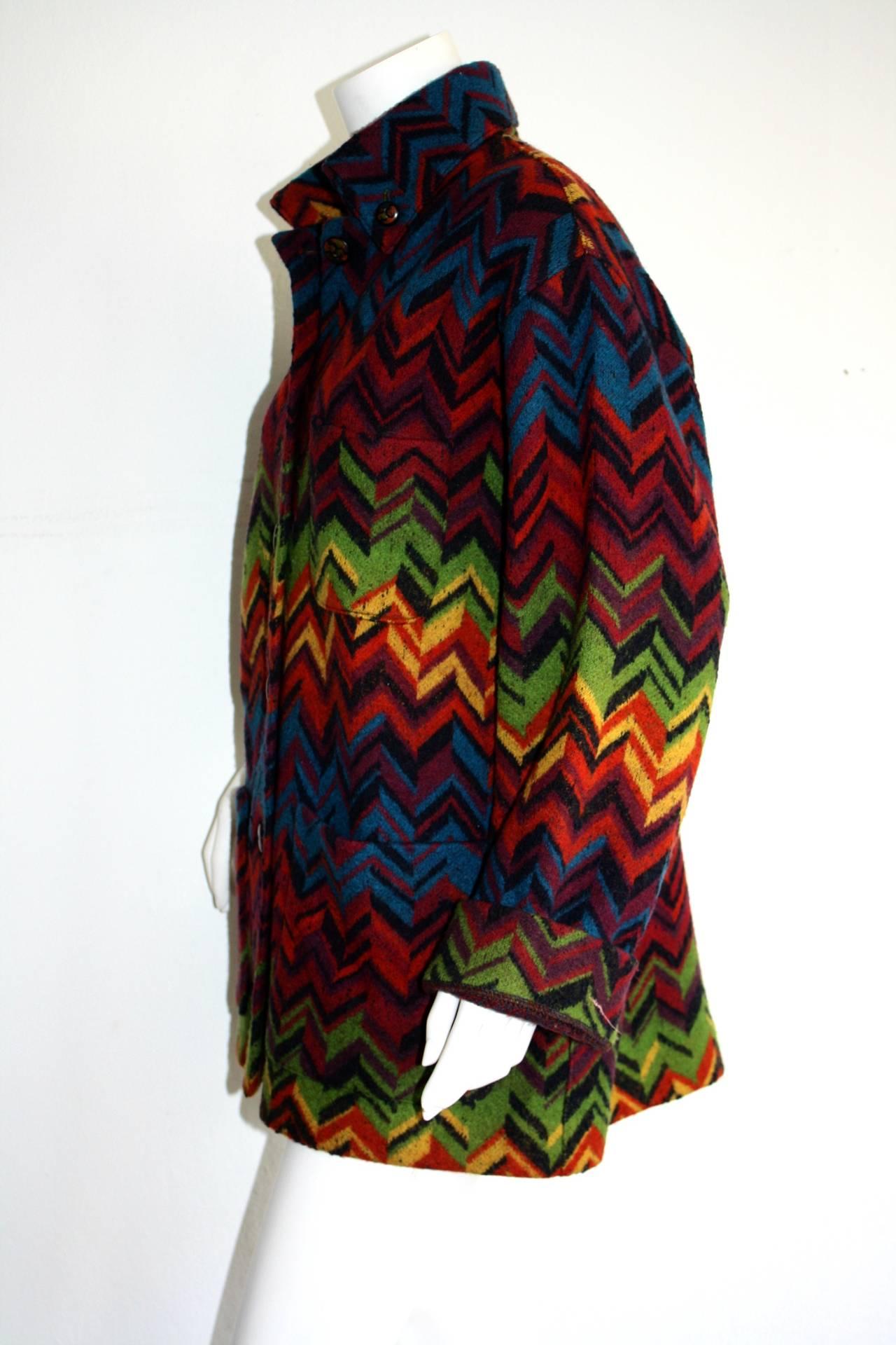 Amazing Vintage Missoni Signature Colorful Chevron Slouchy Blanket Jacket 1