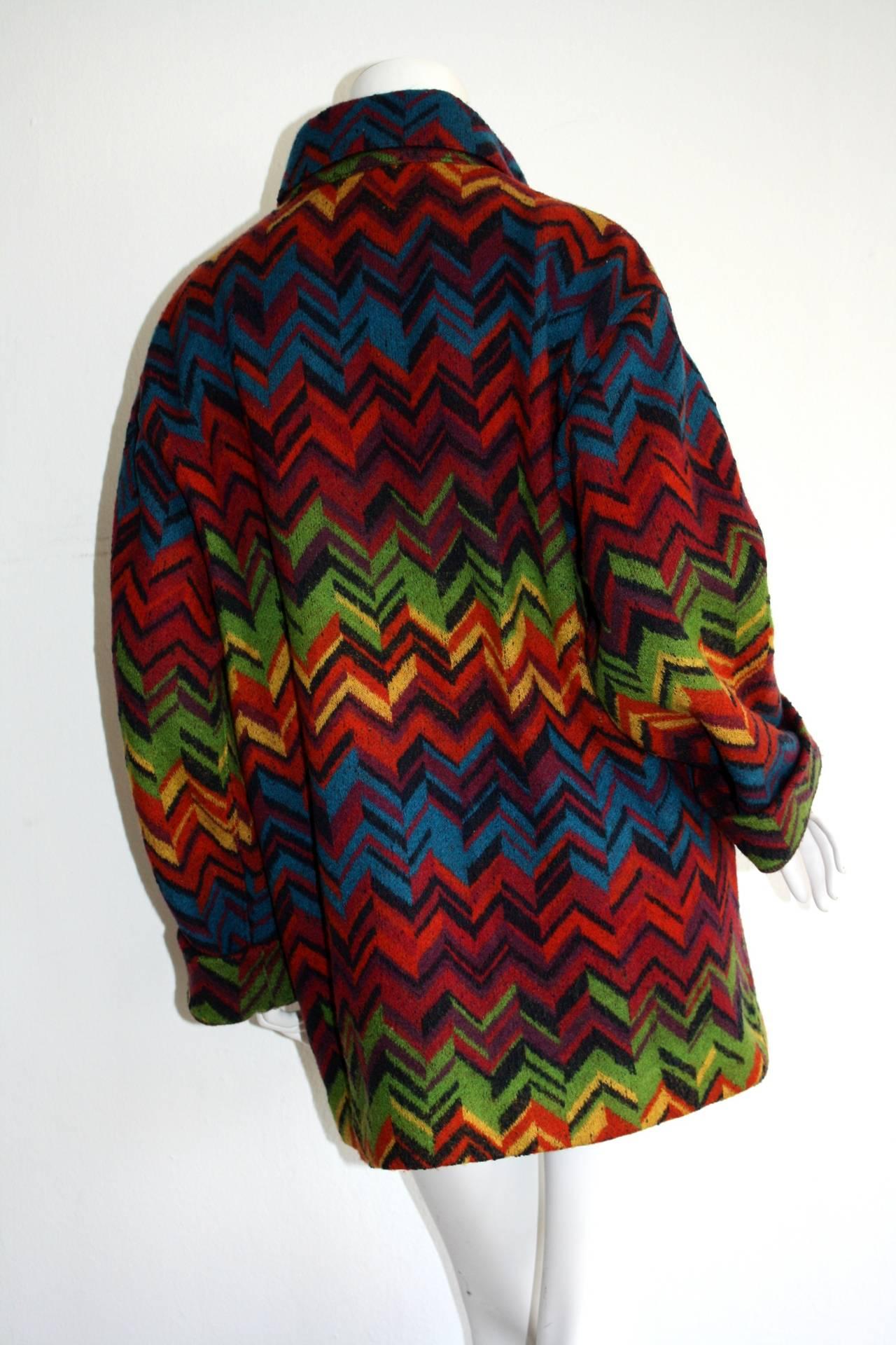 Amazing Vintage Missoni Signature Colorful Chevron Slouchy Blanket Jacket 2