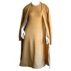 Vintage Halston Camel 2- Ply Cashmere Dress & Cardigan Ensemble