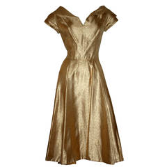 Wonderful 1950s Gold Metallic Vintage Cocktail Dress w/ Full Skirt