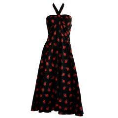 Vintage Guy Laroche Black & Red Cotton Halter Sun Dress w/ Oriental Theme