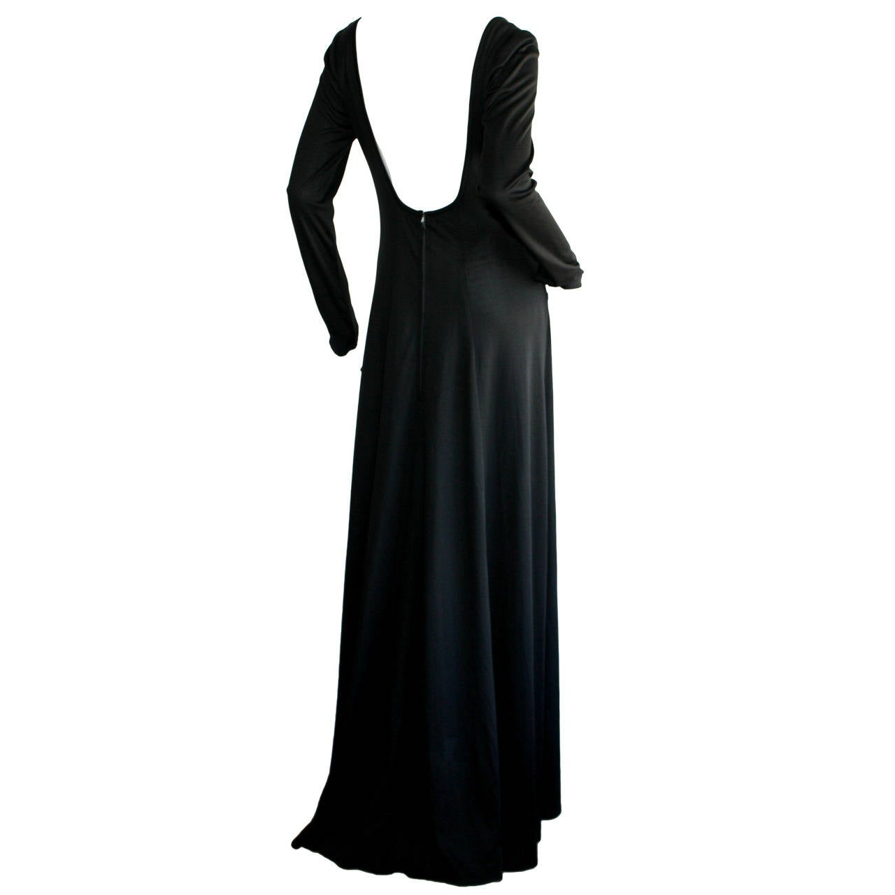 Jean Varon Sexy ' Plunging Back ' 1970s Black Jersey Gown 1