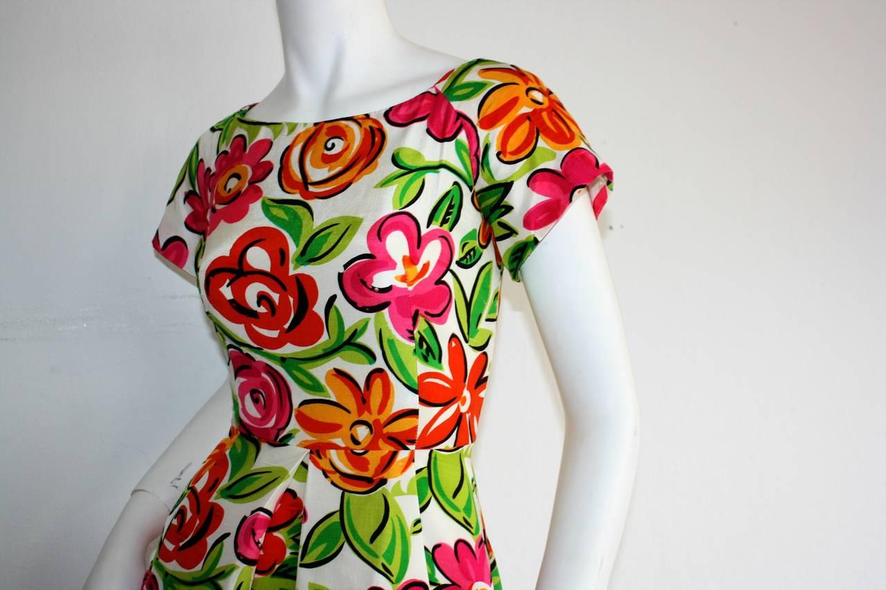 Vintage Arnold Scaasi Size 2 Silk Flower Dress w/ Pockets 5