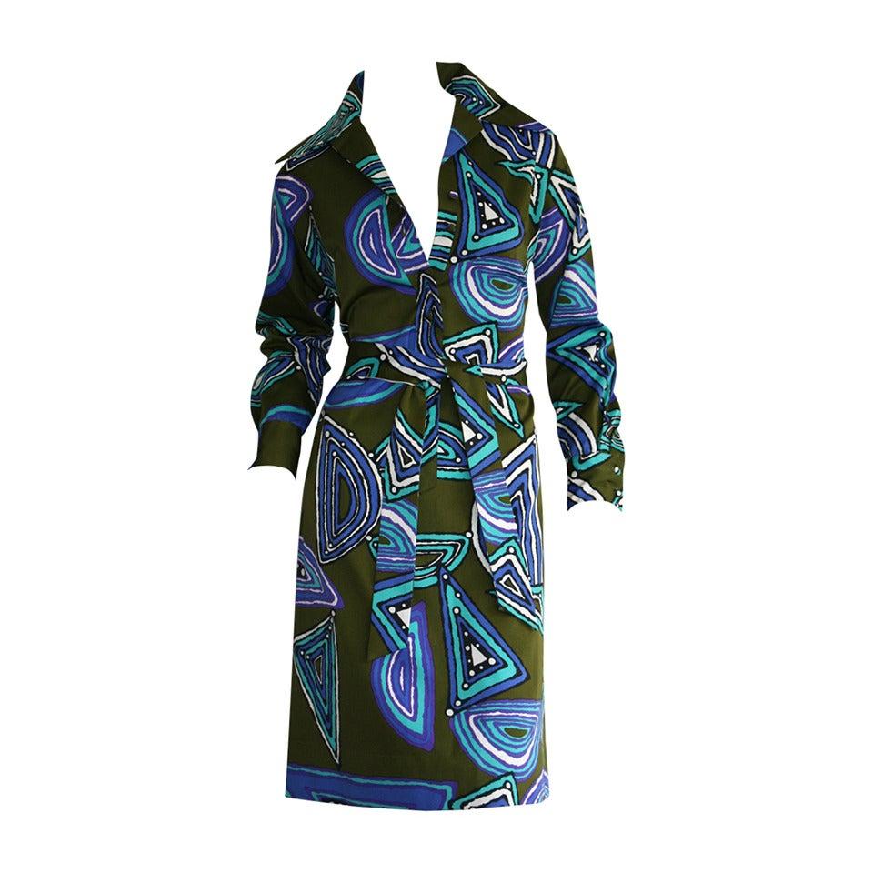 Vintage Lanvin Belted Op - Art Silk Geometric Shirt Dress
