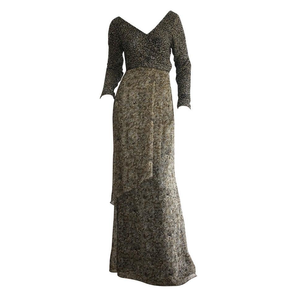 Stunning Vintage Bob Mackie Heavily Beaded Silk Chiffon Leopard Gown