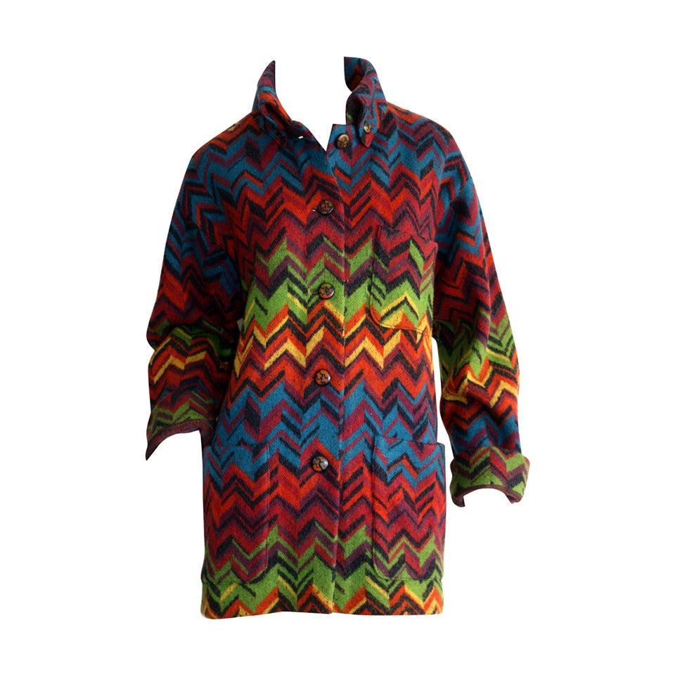 Amazing Vintage Missoni Signature Colorful Chevron Slouchy Blanket Jacket