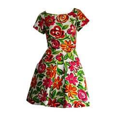 Vintage Arnold Scaasi Size 2 Silk Flower Dress w/ Pockets