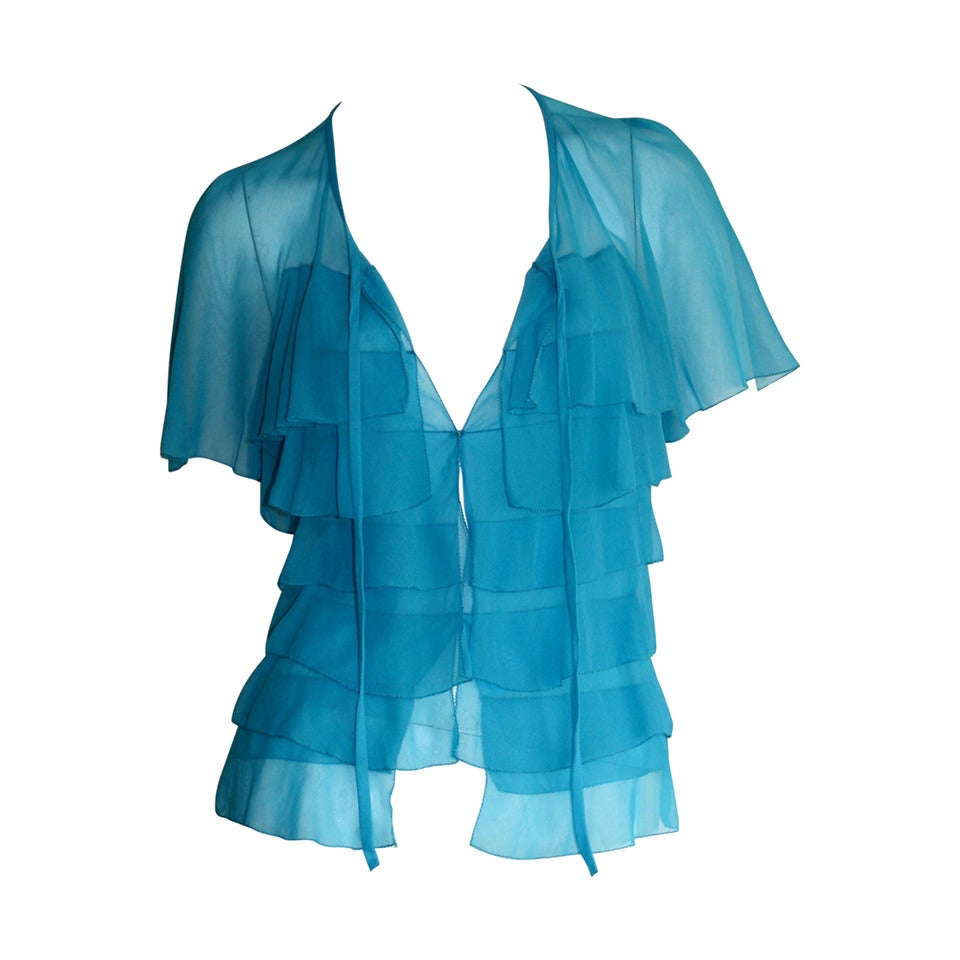 Vintage Holly's Harp Blue Silk Chiffon Tiered Ruffle Bow Blouse 1