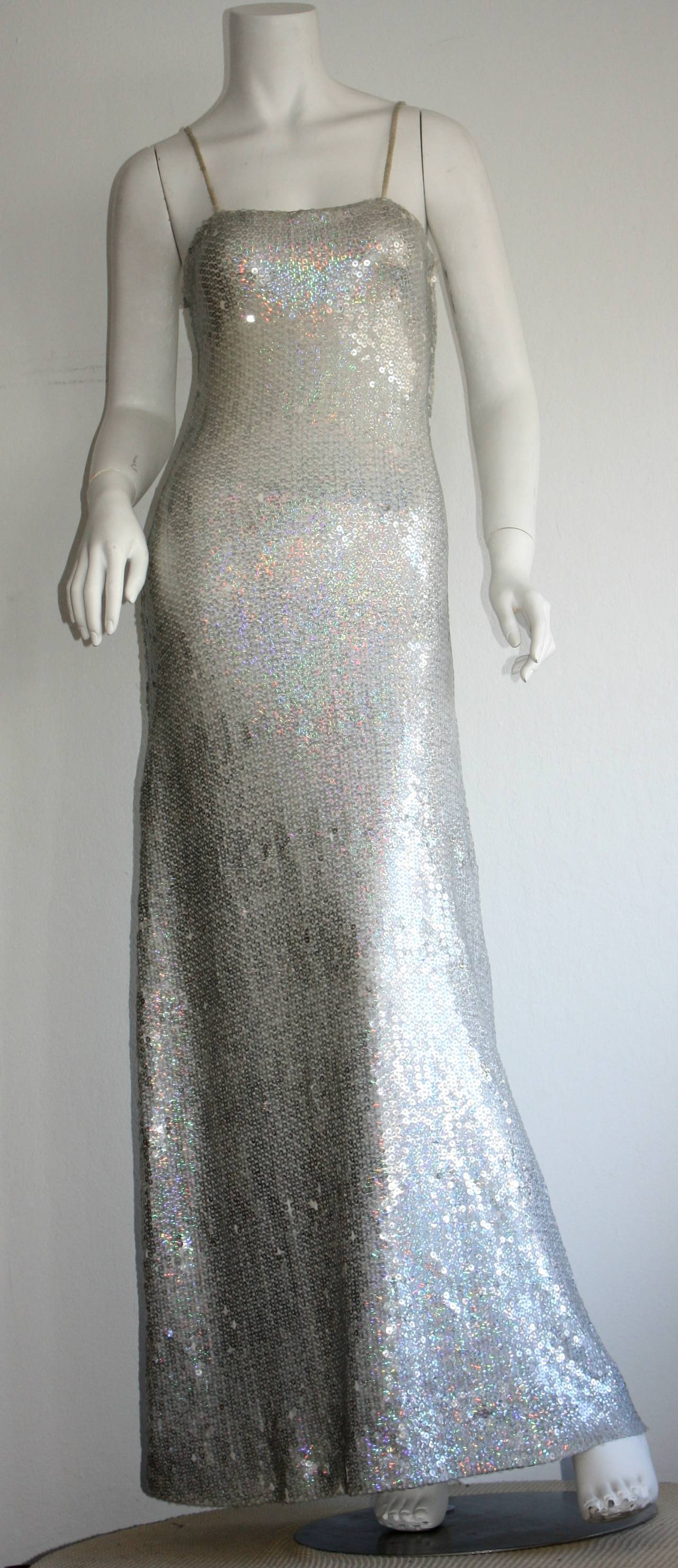 Vintage Halston 1970s Iridescent Sequin Mermaid Gown at 1stdibs