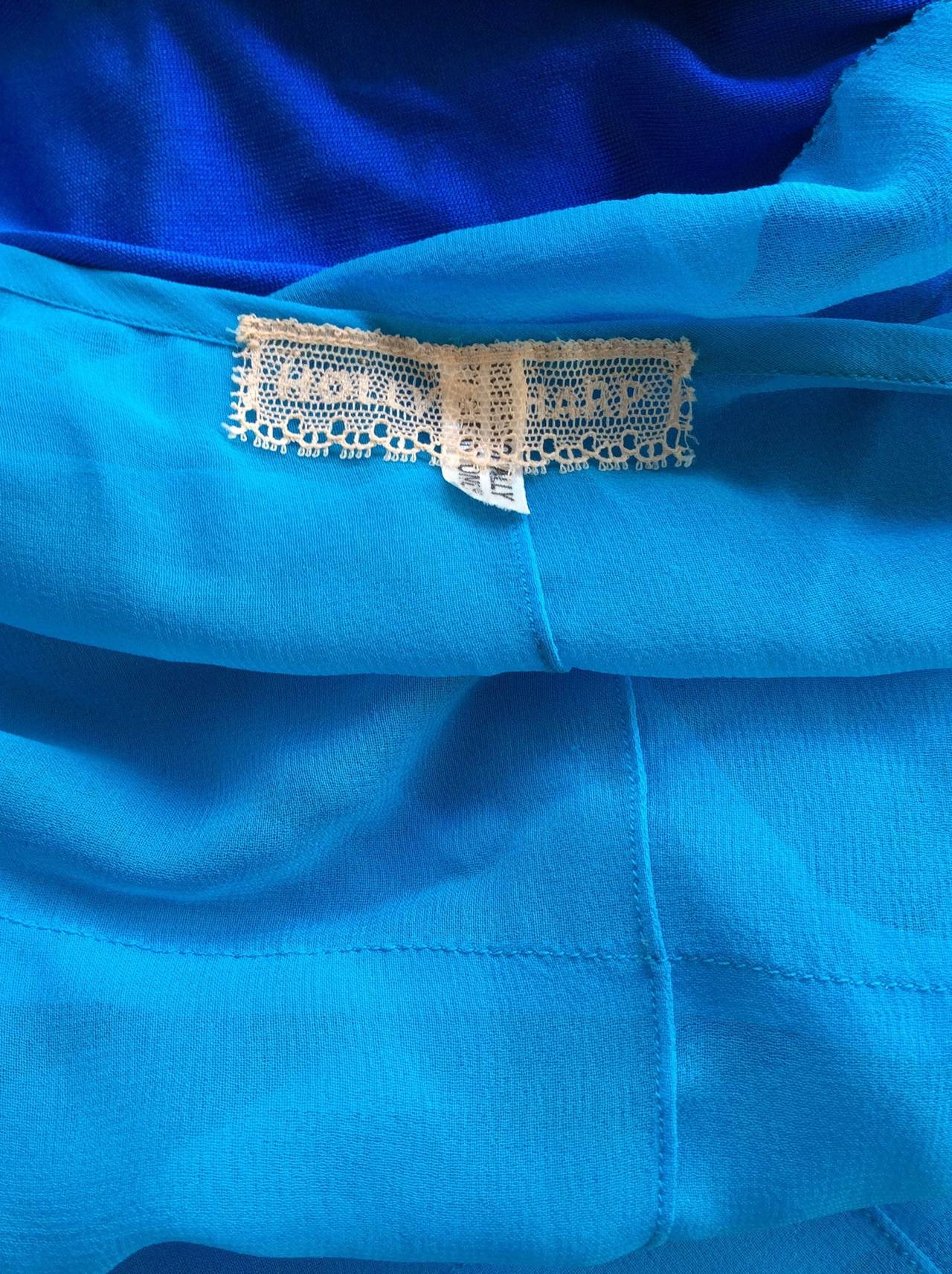 Vintage Holly's Harp Blue Silk Chiffon Tiered Ruffle Bow Blouse 9