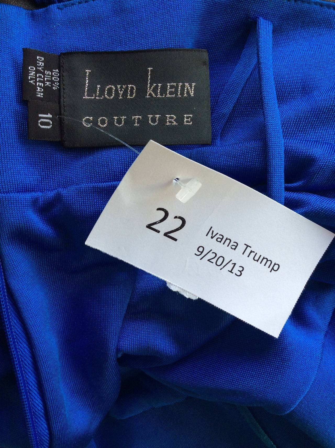 Ivana Trump's Lloyd Klein Couture Blue Silk Jersey & Black Leather Grecian Gown For Sale 4