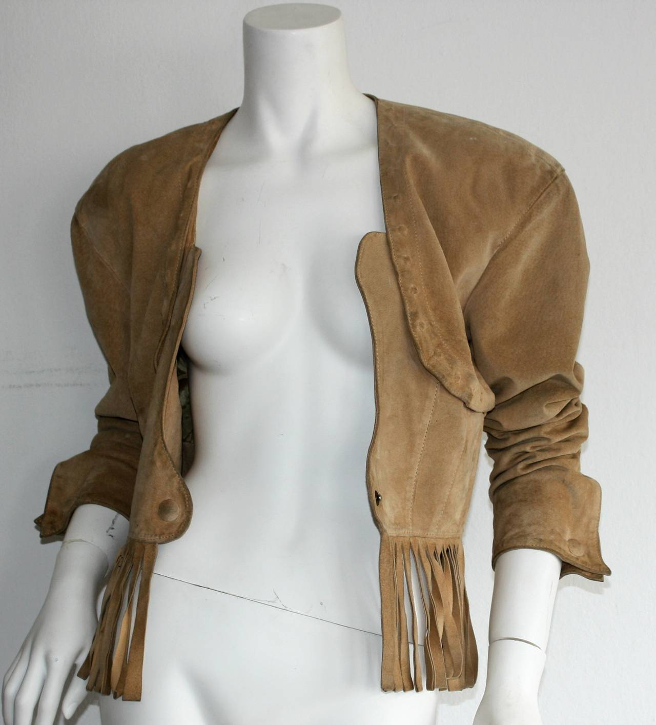 Vintage Jean Claude Jitrois Haute Couture Numbered Suede Tan Fringe Jacket 5