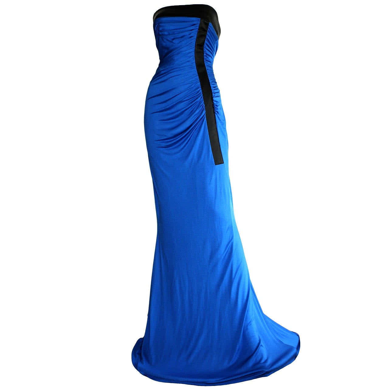 Ivana Trump's Lloyd Klein Couture Blue Silk Jersey & Black Leather Grecian Gown For Sale