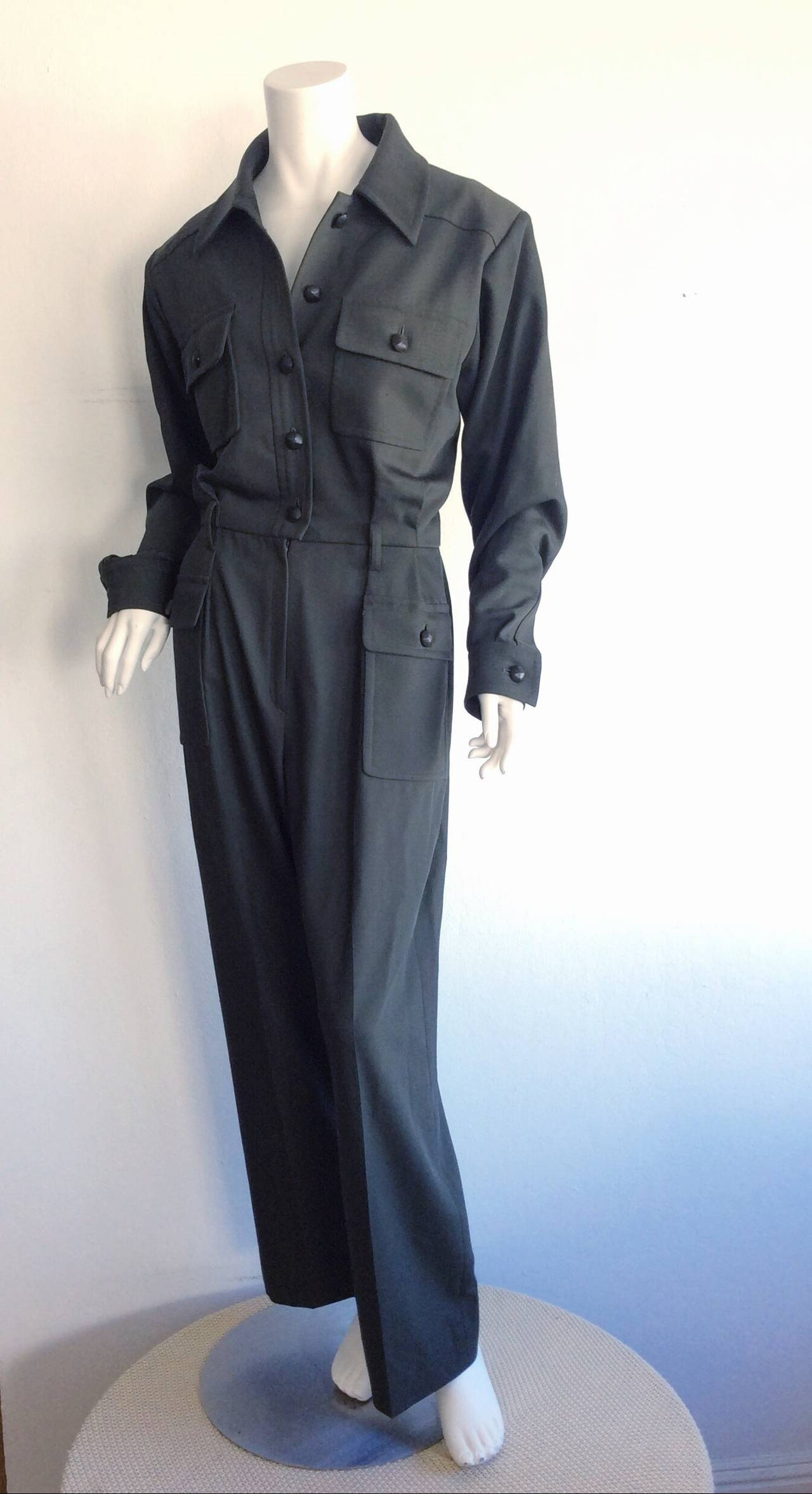 b2d8634b10e Black Iconic Vintage Yves Saint Laurent ' Rive Gauche ' Army Green Jumpsuit  Onesie For Sale