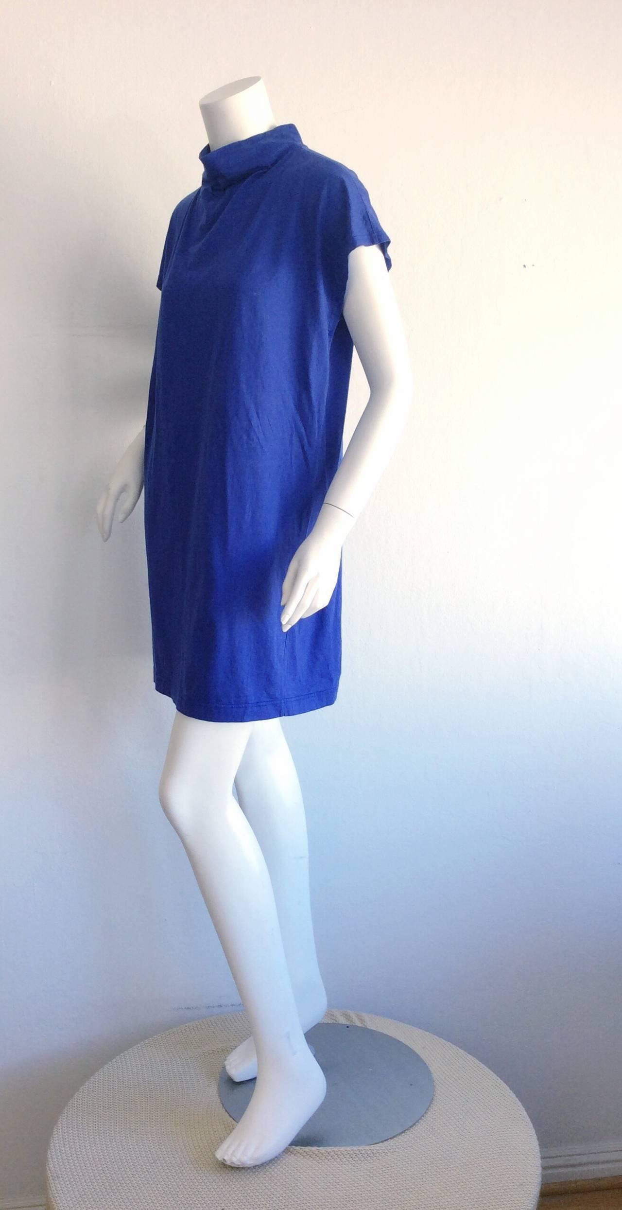 Rare vintage issey miyake plantation royal blue smock cotton t shirt dress - Issey miyake rue royale ...