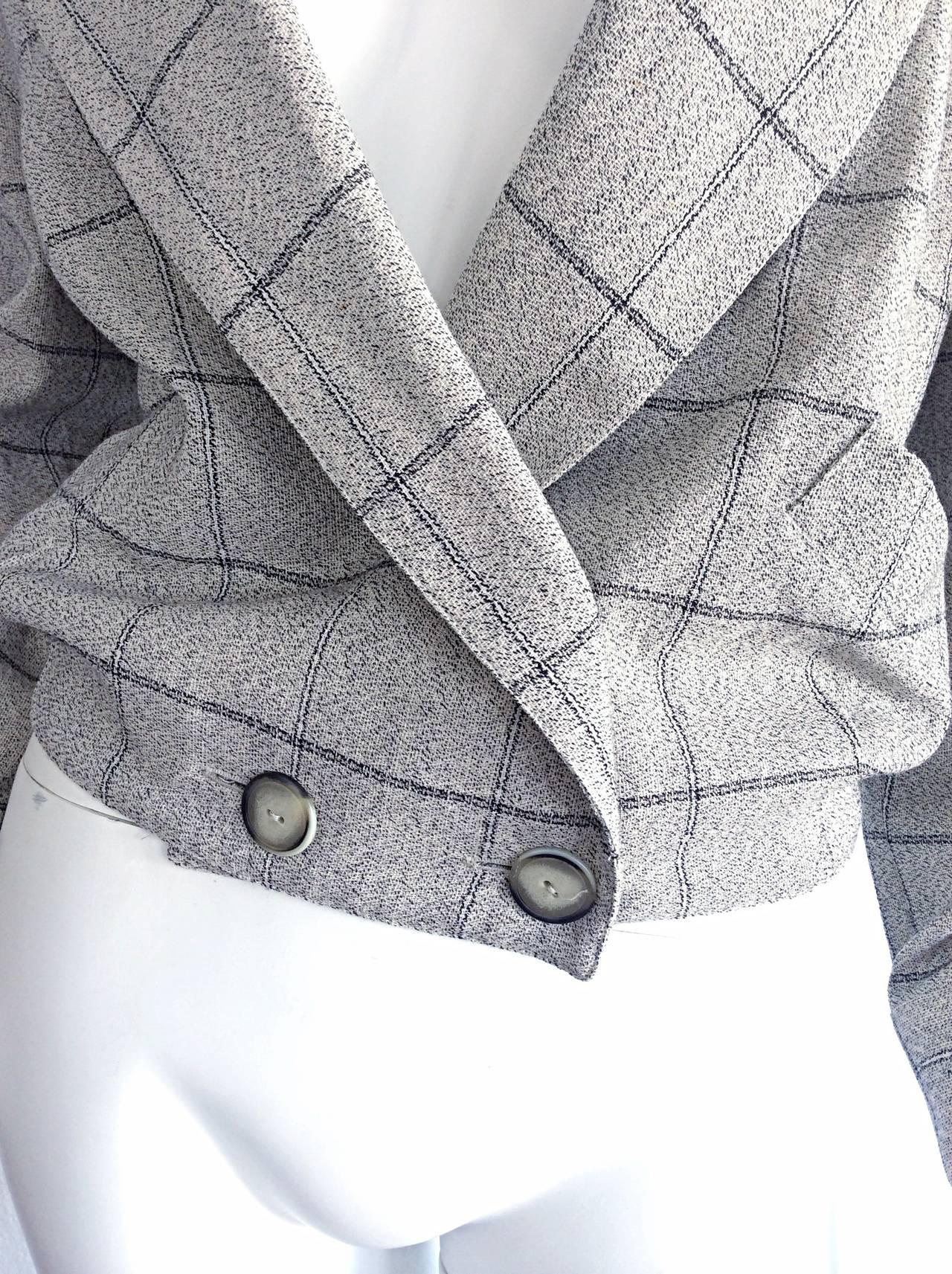 Women's Vintage Krizia Wool Windowpane Slouchy Boyfriend Blazer For Sale