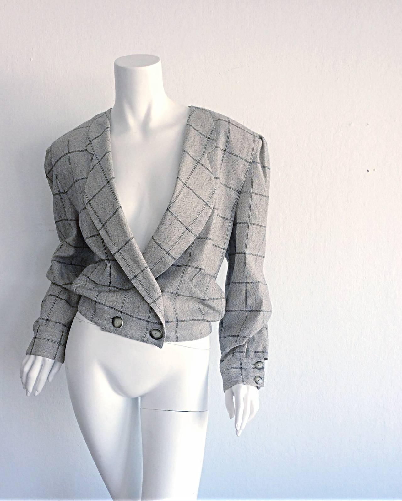 Vintage Krizia Wool Windowpane Slouchy Boyfriend Blazer 4