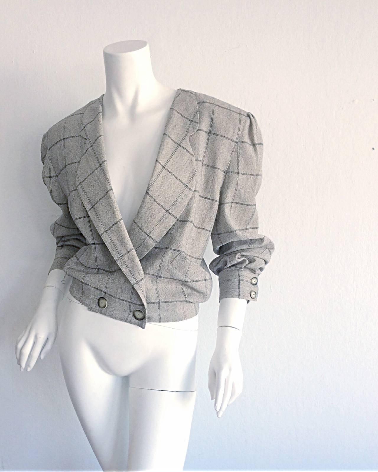 Vintage Krizia Wool Windowpane Slouchy Boyfriend Blazer For Sale 2