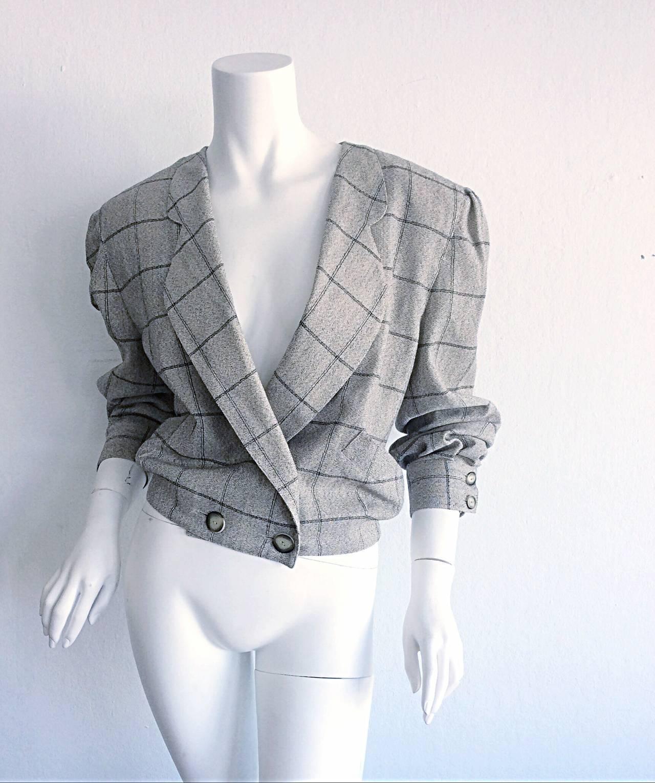Vintage Krizia Wool Windowpane Slouchy Boyfriend Blazer 2