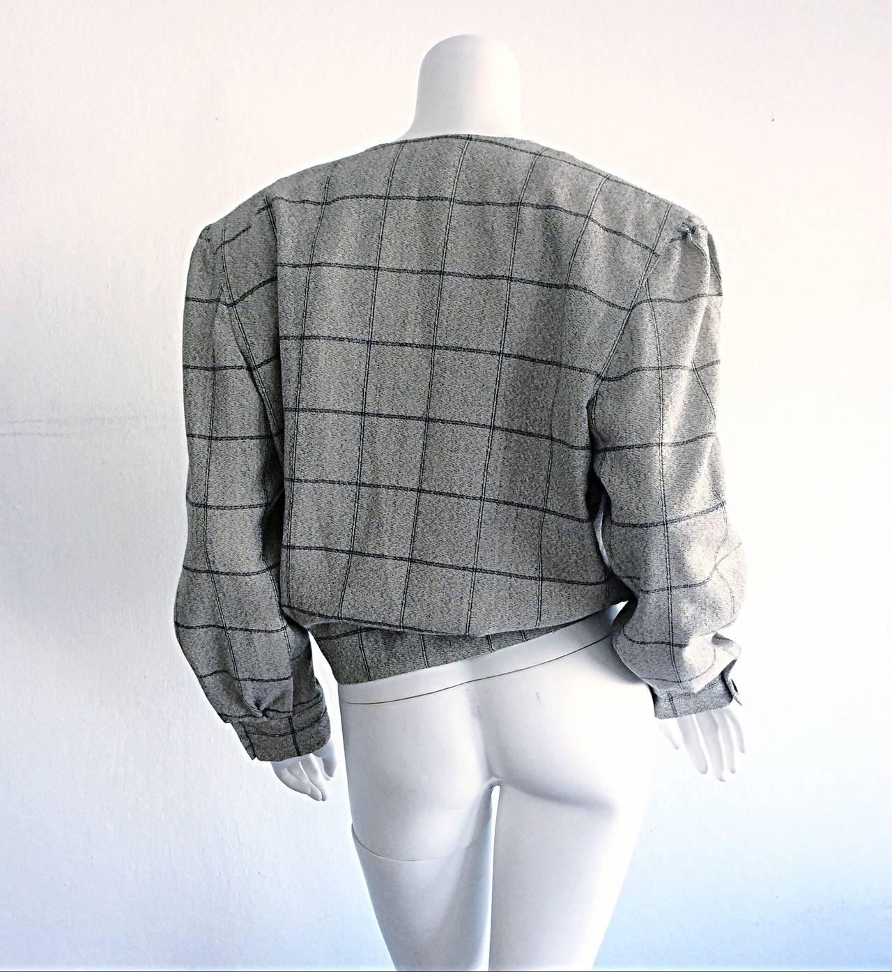 Gray Vintage Krizia Wool Windowpane Slouchy Boyfriend Blazer For Sale