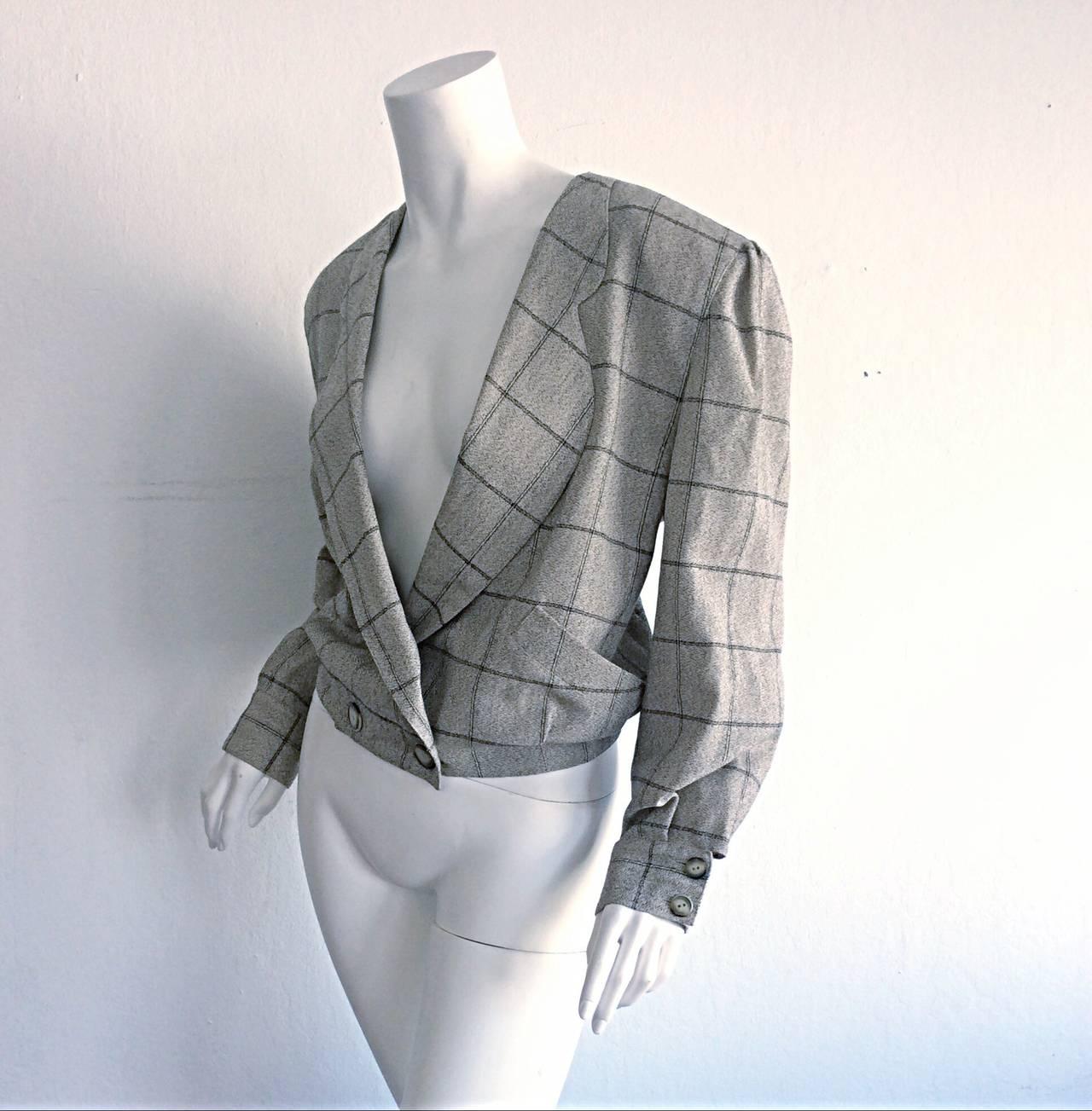 Vintage Krizia Wool Windowpane Slouchy Boyfriend Blazer For Sale 1