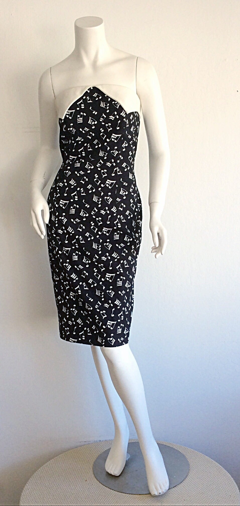 Black Iconic Vintage Patrick Kelly ' Music Notes ' Strapless Cotton Dress For Sale
