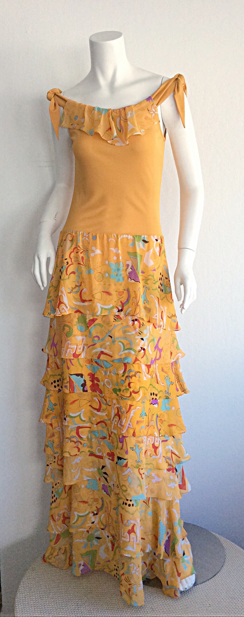 Incredible 1970s Stephen Burrows Jersey Maxi Dress Silk Tiered Skirt Brand New In New Never_worn Condition For Sale In Chicago, IL