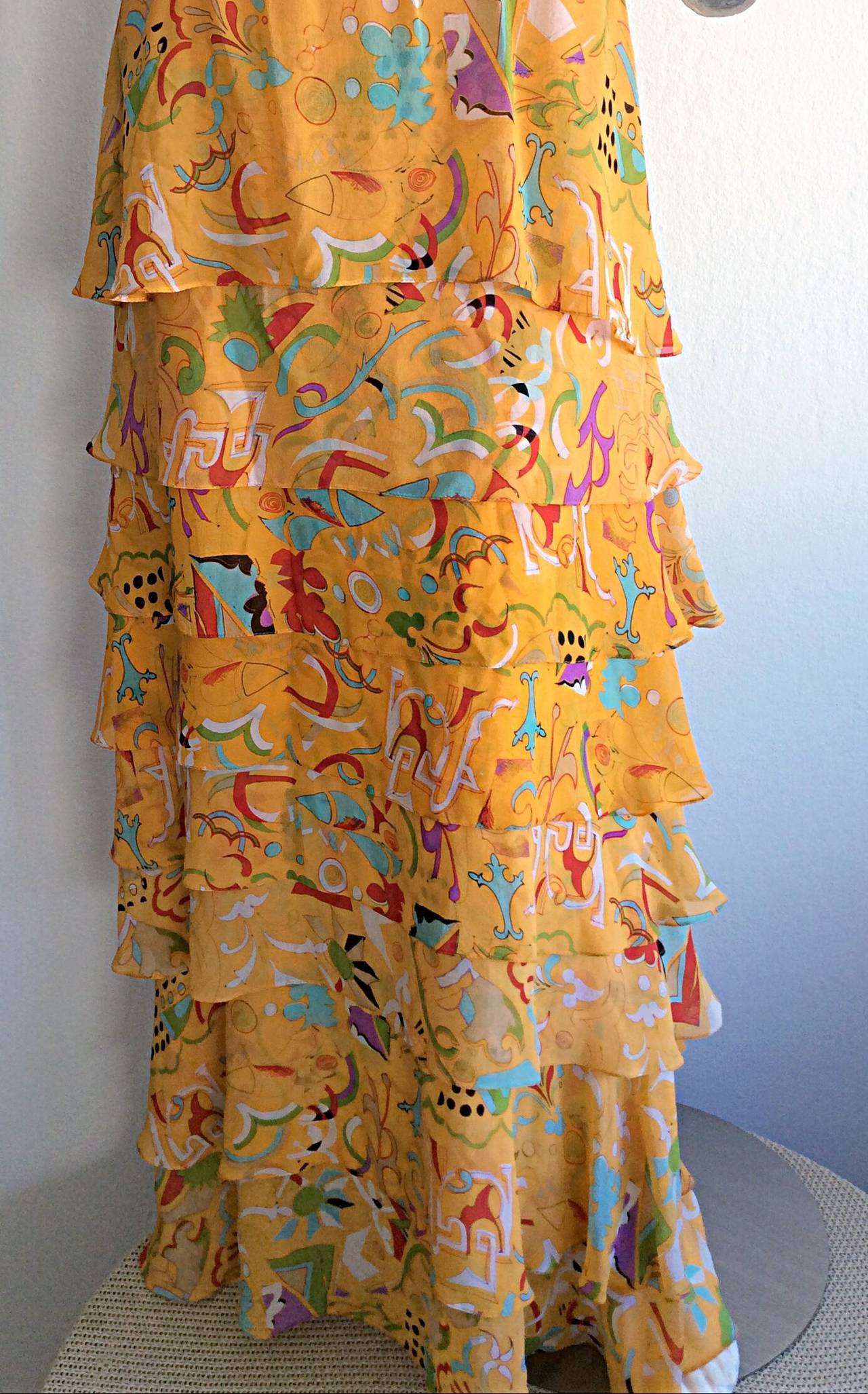 Incredible 1970s Stephen Burrows Jersey Maxi Dress Silk Tiered Skirt Brand New 3