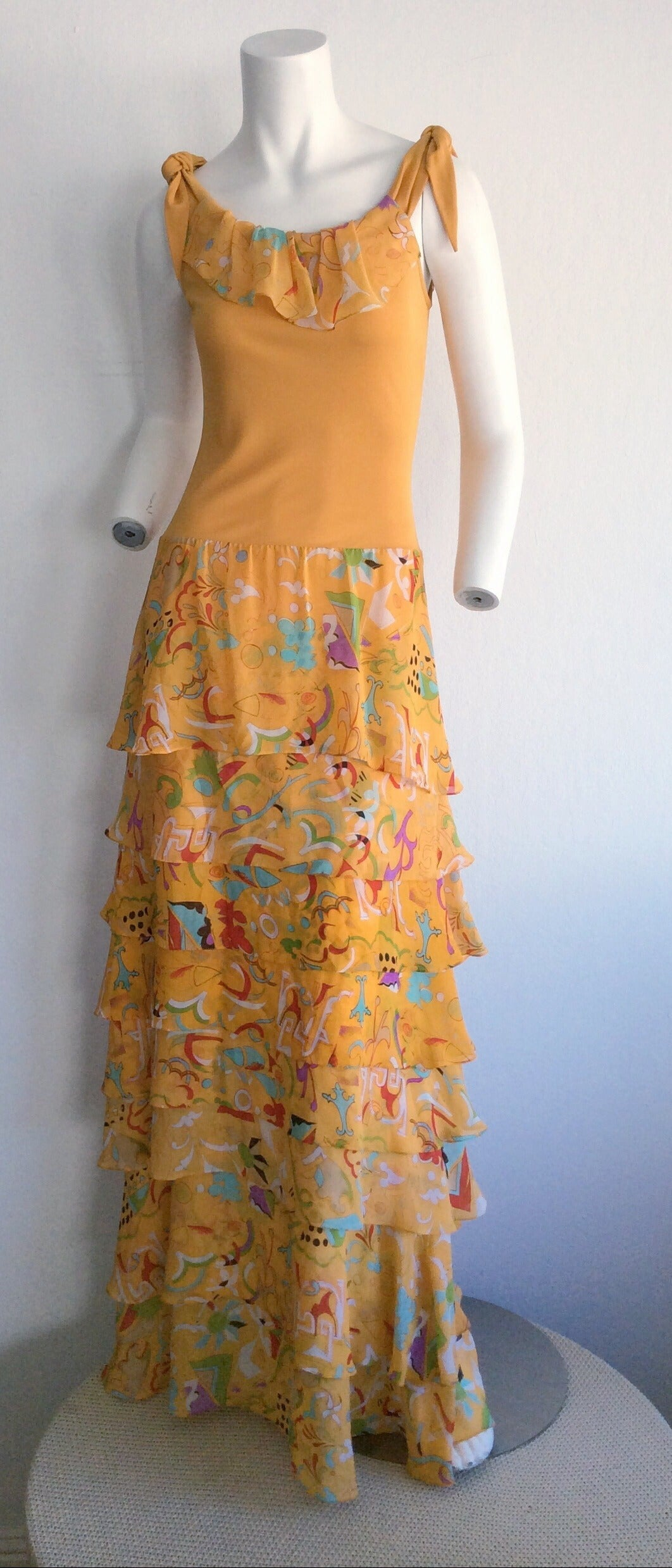 Incredible 1970s Stephen Burrows Jersey Maxi Dress Silk Tiered Skirt Brand New For Sale 1