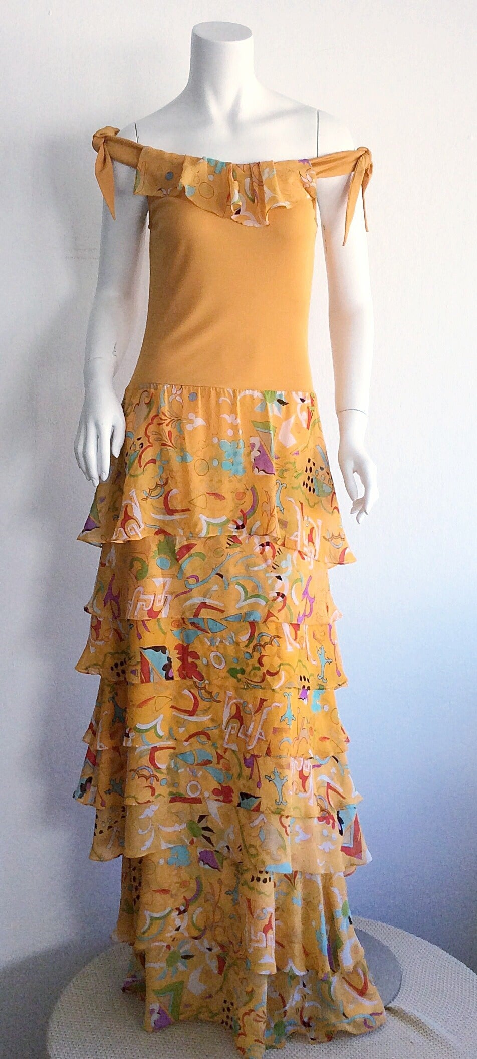 Incredible 1970s Stephen Burrows Jersey Maxi Dress Silk Tiered Skirt Brand New For Sale 2