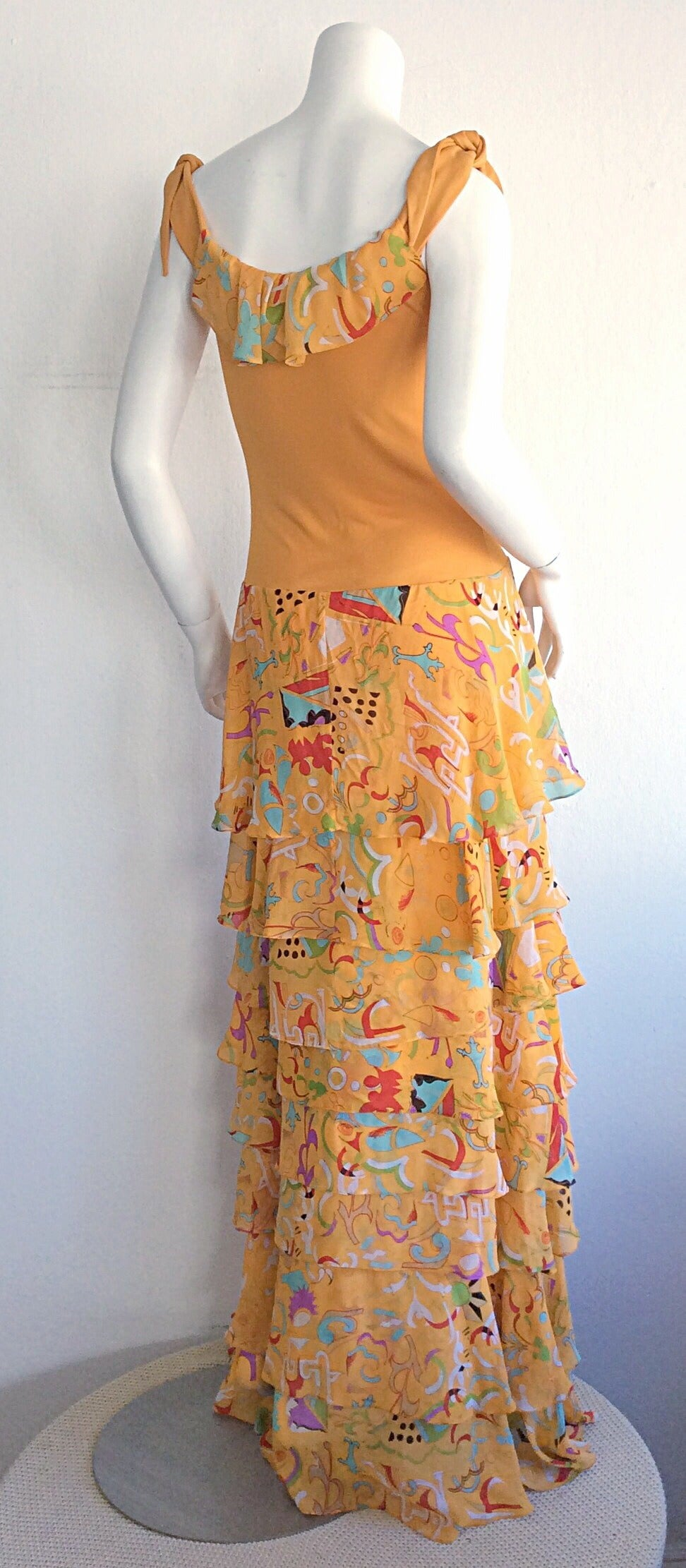 Women's Incredible 1970s Stephen Burrows Jersey Maxi Dress Silk Tiered Skirt Brand New For Sale