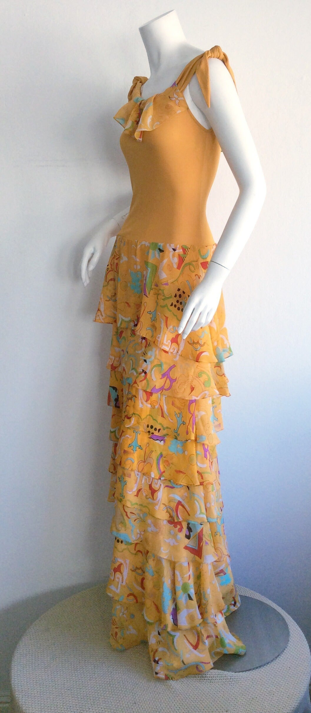 Incredible 1970s Stephen Burrows Jersey Maxi Dress Silk Tiered Skirt Brand New 8