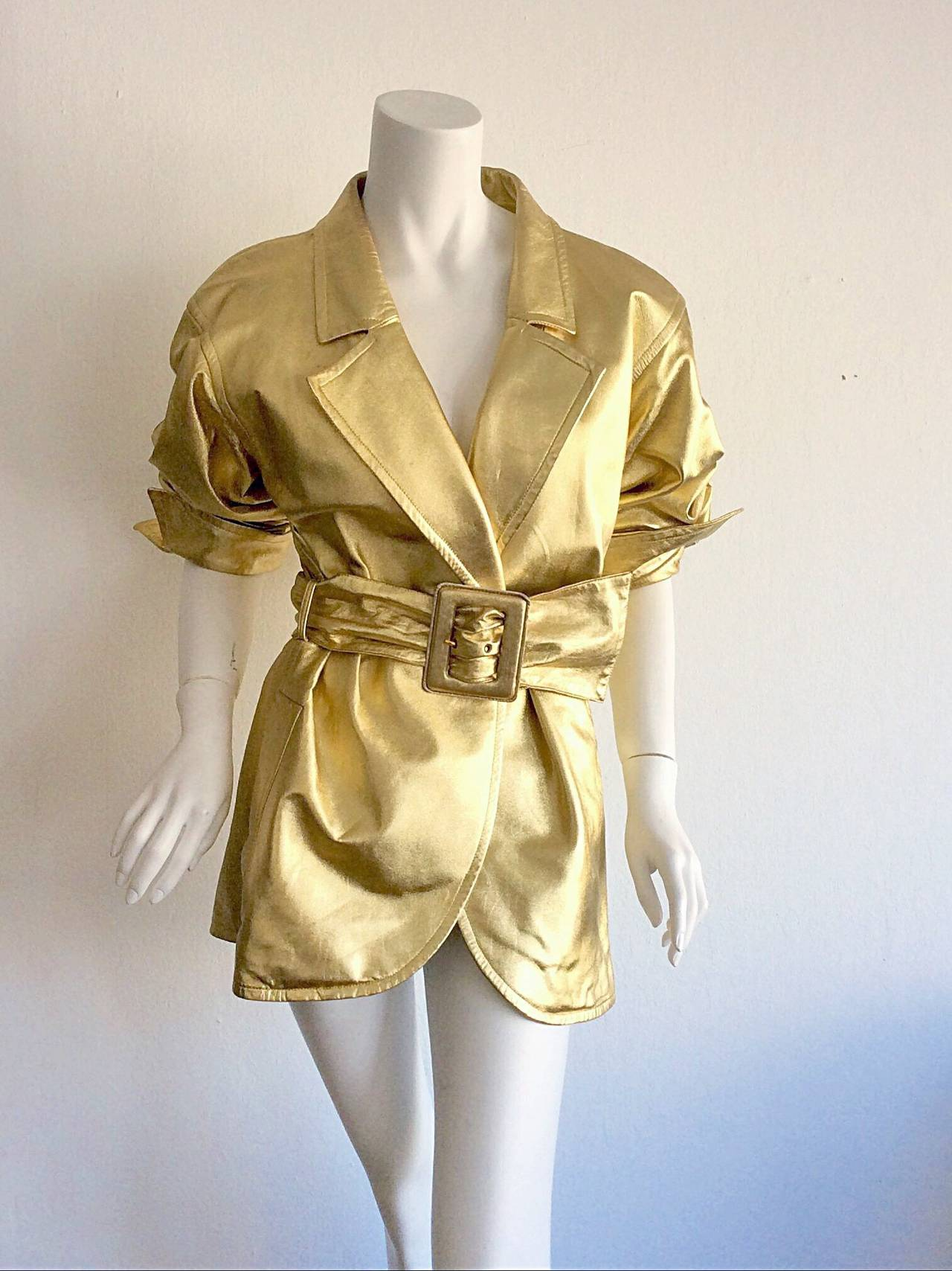 Vintage Yves Saint Laurent ' Rive Gauche ' Belted Gold Leather Jacket 7